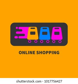 Online shopping. Logo online store. Packages on wheels. Icon service Internet orders. Vector illustration