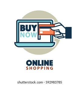 Online shopping logo template. Internet web store element design of laptop computer and credit card in hand. Buy Now vector isolated icon