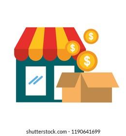 online shopping market cardboard box coins