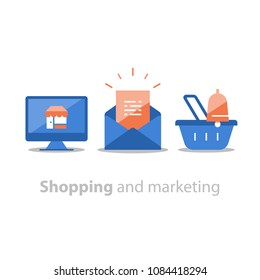 Online shopping and marketing strategy, abandoned cart email remainder, news letter subscription, basket with bell, sales improvement, loyalty program, promotion offering, vector flat icon set