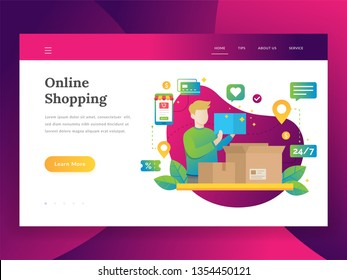 Online shopping, mobile marketing and purchase concept. Modern flat design illustration concept of Online Shopping. Landing page with man or customer receiving package buying goods at internet store