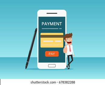 Online shopping and mobile payments concept. Businessman showing thumb up. Cartoon Vector Illustration.