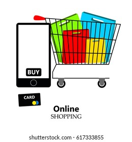 Online shopping, mobile phone, shopping with mobile phone, packaging for purchases, vector, products, business background, gifts, abstraction