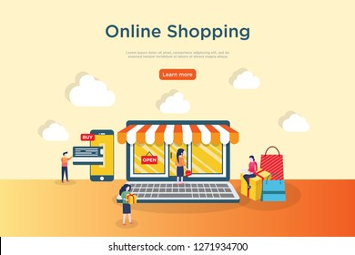 Online Shopping. Modern flat design concept of web page design for website and mobile website. Easy to edit and customize. Vector illustration.