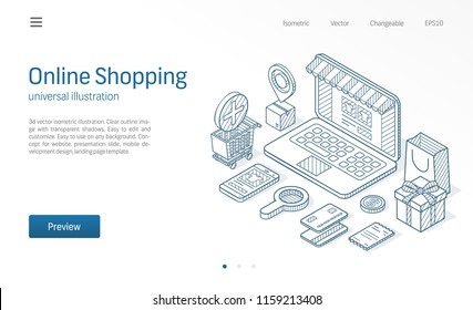 Online Shopping modern isometric line illustration. Delivery, cart, laptop store business sketch drawn icons. Abstract 3d vector background. Ecommerce pay, market sales concept. Landing page template