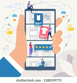 Online Shopping and Network. Ecommerce Sales, Digital Marketing. Sale and Consumerism Concept. Online Shop Application. Digital Technologies and Shoppin. Flat style Vector Illustration.