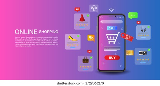 Online shopping on application and website concept, digital marketing online, shopping cart with new items on smartphone screen. - Shutterstock ID 1729066270