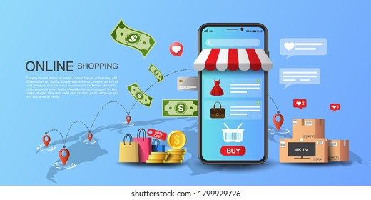 Online shopping on application and website concept, digital marketing and money online, shopping cart with new items on smartphone screen.