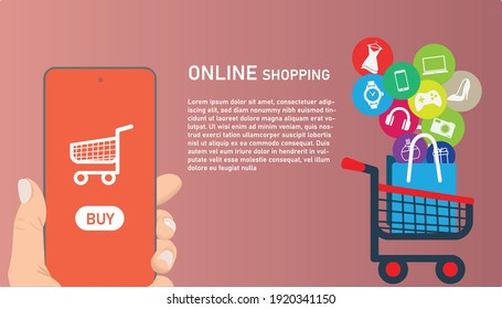 Online shopping on application and website concept, digital marketing online, shopping cart in troley with buy items on smartphone screen.