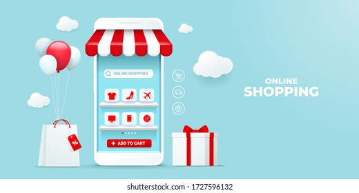 Online Shopping on Mobile Application Vector Concept. with store bag and gift box. blue sky background and white smartphone showcase display icon on shelves. Digital marketing illustration