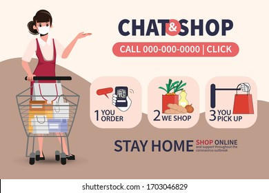 Online shopping on smartphone and pick up. Service customer stay home from department store and supermarket. New normal lifestyle people.
