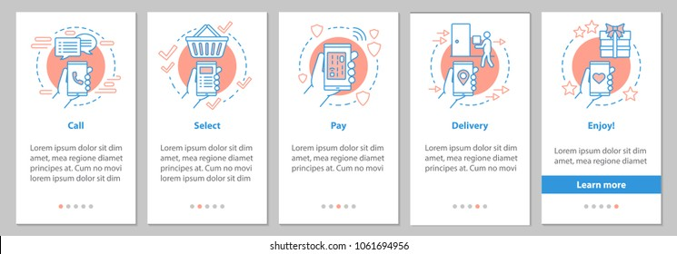 Online shopping onboarding mobile app page screen with linear concepts. Digital purchase graphic instructions. UX, UI, GUI vector template with illustrations