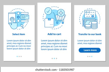 Online shopping onboarding mobile app page screen with linear concepts. Digital purchase steps instructions. Select items, add to cart, make payment. UX, UI, GUI vector template with illustrations