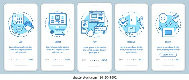 Online shopping onboarding mobile app page screen with linear concepts. Digital purchase. Call, select, pay, receive, enjoy. Steps graphic instructions. UX, UI, GUI vector template with illustrations