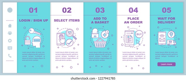 Online shopping onboarding mobile web pages vector template. Internet store. Digital purchase. Make order. Delivery. Responsive smartphone website interface. Webpage walkthrough step screens