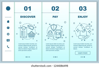 Online shopping onboarding mobile web pages vector template. Digital purchase. Discover deal, pay, enjoy. Responsive smartphone website interface. Webpage walkthrough step screens. Color concept
