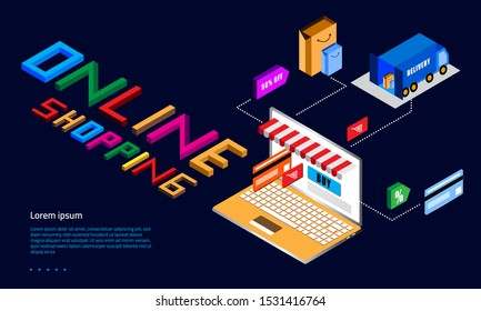 Online shopping payment concept. Computer and network digital marketing for promo product with delivery concept. Landing page vector illustration flat design