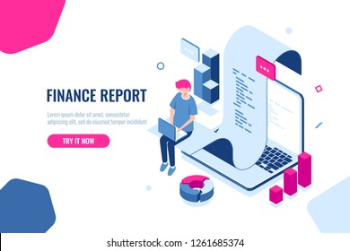 Online shopping and payment, internet shop isometric, receipt of pay, notification of purchase, man with laptop, billing system and online banking. Flat color vector illustration