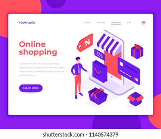 Online shopping people and interact with shop. Landing page template. 3d isometric vector illustration.