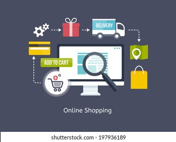 Online Shopping process infographic showing the choice of merchandise off the website  adding it to the shopping cart  payment  packaging  delivery and receipt centred around a desktop computer