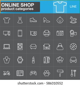 Online shopping product categories line icons set, outline vector symbol collection, linear white pictogram pack. Signs, logo illustration. Set includes icons as clothes, shoes, computer, electronics