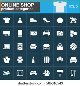 Online shopping product categories vector icons set, modern solid symbol collection, filled white pictogram pack. Signs, logo illustration. Set includes icons as clothes, shoes, computer, electronics