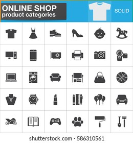 Online shopping product categories vector icons set, modern solid symbol collection, filled style pictogram pack. Signs, logo illustration. Set includes icons as clothes, shoes, computer, electronics