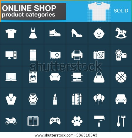 Online Shopping Product Categories Vector Icons Stock Vector