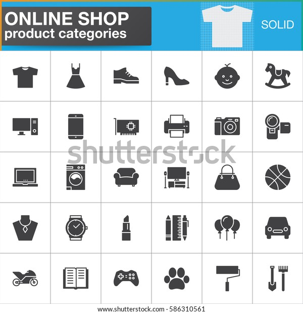 113e3c143 Online Shopping Product Categories Vector Icons Lagervektor ...