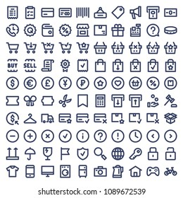 Online shopping related line icon set.  E-commerce and delivery vector signs. Vector illustration.