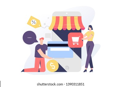 Online shopping related, vector illustration concept for application and website development. The illustration contains business people, employees, clients, men and woman characters.