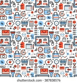 Online shopping and retail business icons square seamless pattern. For store sales decoration. Thin line art flat objects texture illustration.
