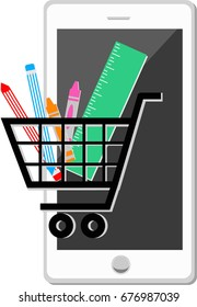 Online shopping, Sale concept - Stationery icon set. Smartphone with crayon, pencil and ruler icon in shopping cart icon on the screen.