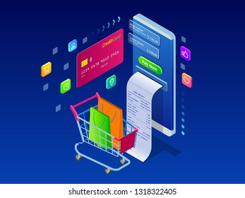 Online shopping, Sale, Consumerism and Online store. Isometric Smart smartphone online shopping template. Mobile marketing and e-commerce. Vector illustration