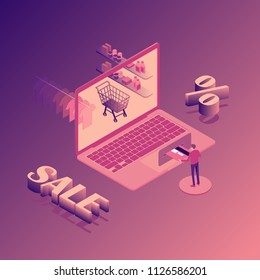 Online shopping sale and discount isometric illustration with laptop, stores orders, buyer with credit card isolated vector illustration