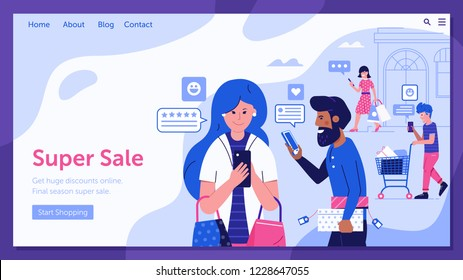 Online shopping sale landing page with happy customers sharing positive feedback and experience. Internet store marketing and advertising banner with people on shopping sending good reviews.