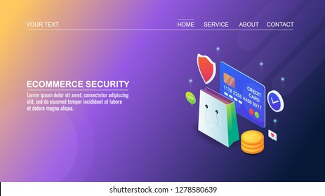 Online shopping, Security, Payment gateway, Secure Digital shopping flat style 3D isometric banner
