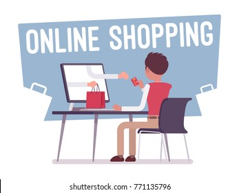 Online shopping service. Young man purchasing products over the Internet, sitting at desk, getting goods via screen, store electronic commerce. Vector business concept flat style cartoon illustration