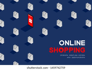 Online shopping in smartphone with shopping bag 3D isometric pattern, Sale promotion concept poster and banner horizontal design illustration isolated on blue background with copy space, vector eps 10