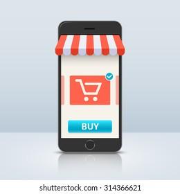 261e8e9e929 Online shopping. Smartphone and screen buy. Flat line vector illustration  ...