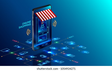 Online shopping. Smartphone turned into internet shop. Concept of mobile marketing and e-commerce. Isometric supermarket smartphone with icons of purchases. Awning above online store front door.