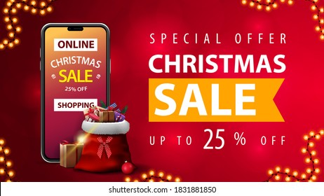 Online Shopping, Special offer, Christmas sale, up to 25% off, red discount web banner with blurred background, smartphone with offer on screen and Santa Claus bag with presents around