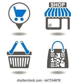 Online Shopping Store Buy Sales Vector Icon Set. Shop Place Cart Basket Bug QR Code Illustrations.