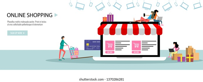Online shopping or online store concept Landing page template or banner with tiny people big laptop credit card. Flat color vector illustration.