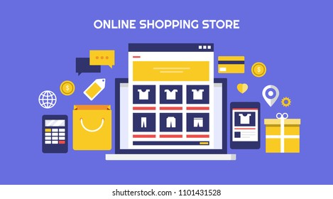 Online Shopping Store - eCommerce Website - Online marketplace flat vector illustration with icons