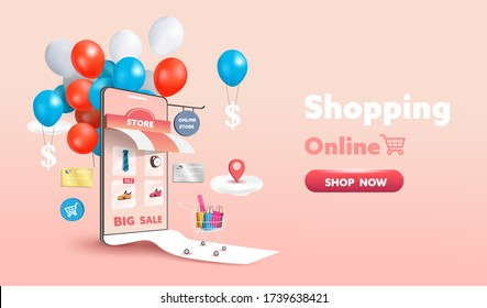 Online shopping store on website and mobile phone design. Smart business marketing concept. Horizontal view. Vector Illustration.