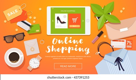 Online shopping. Online store for women. Flat lay.