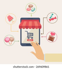 Online shopping at a sweet store concept with a man reaching for a storefront icon and shopping cart on a virtual interface surrounded by icons depicting various sweets, cake, lollipops and chocolate