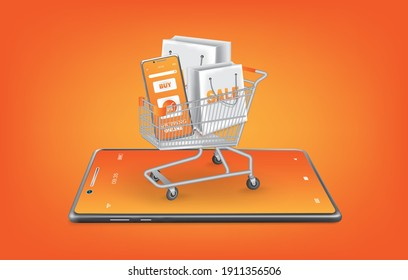 Online shopping template via smartphone application,A shopping cart full of stuff on the smartphone,mobile phone and cart on orange background