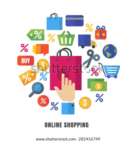 88c360d29f Online shopping vector background. Flat e-commerce icons and symbols.  Abstract design concept